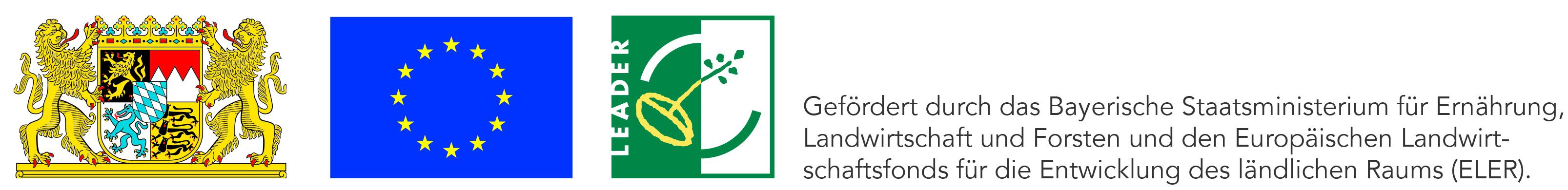 (Bayerisches Wappen, EU-Flagge, LEADER-Logo) Gefördert durch das Bayerische Staatsministerium für Ernährung, Landwirtschaft und Forsten und den Europäischen Landwirtschaftsfonds für die Entwicklung des ländlichen Raums (ELER).